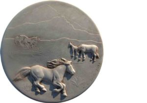 Horses concrete stepping stone mold